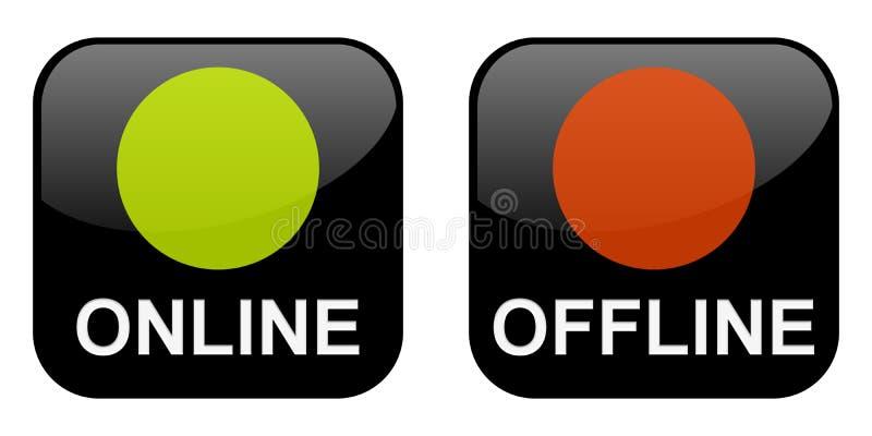 Κουμπιά on-line και off-$l*line διανυσματική απεικόνιση