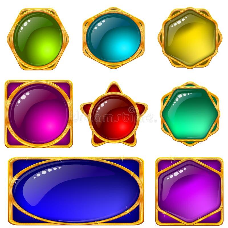 κουμπιών εικονίδια που τίθενται ζωηρόχρωμα διανυσματική απεικόνιση