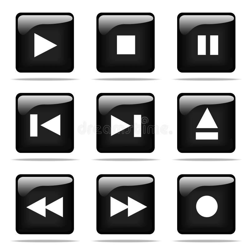 κουμπιών εικονίδια που τίθενται στιλπνά απεικόνιση αποθεμάτων