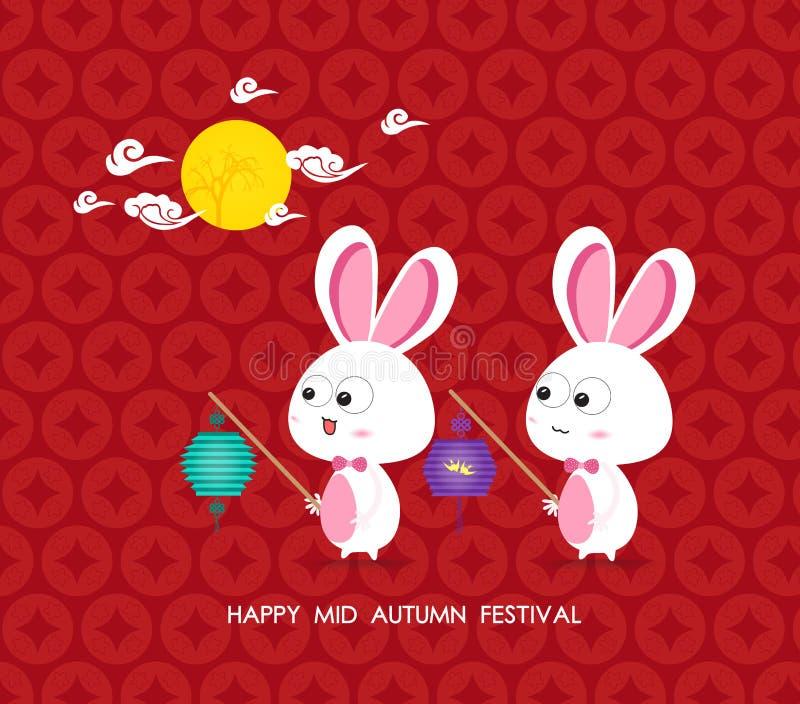 Κουνέλια φεγγαριών του μέσου φεστιβάλ φθινοπώρου απεικόνιση αποθεμάτων