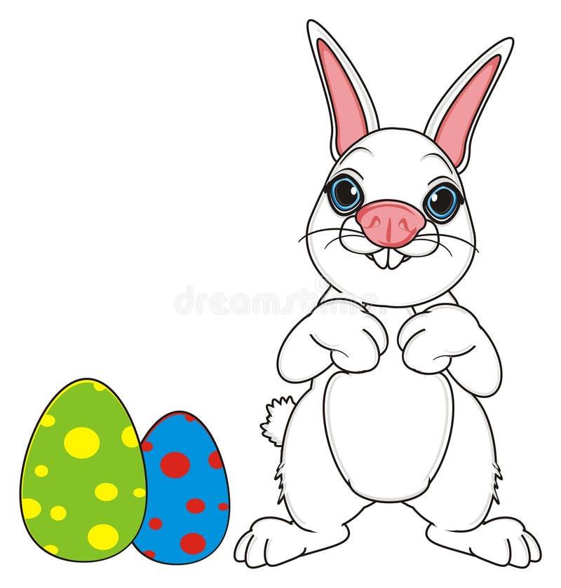 Κουνέλι Πάσχας με τα αυγά ελεύθερη απεικόνιση δικαιώματος