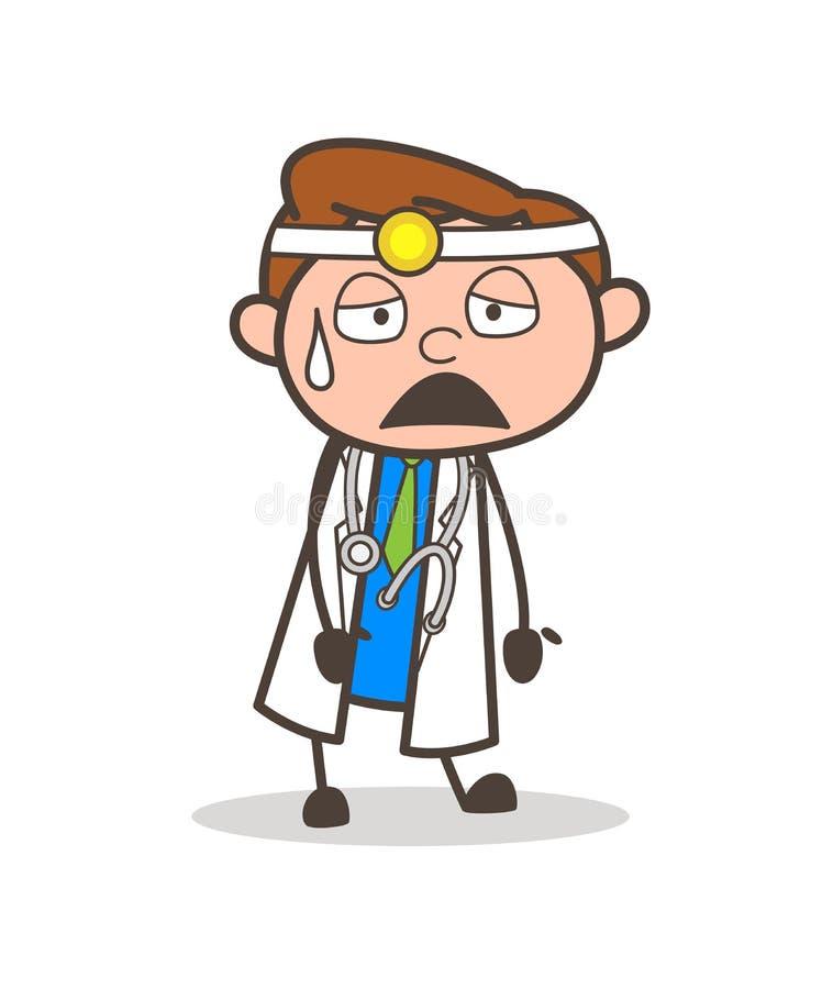 Κουρασμένη κινούμενα σχέδια διανυσματική απεικόνιση έκφρασης προσώπου γιατρών διανυσματική απεικόνιση