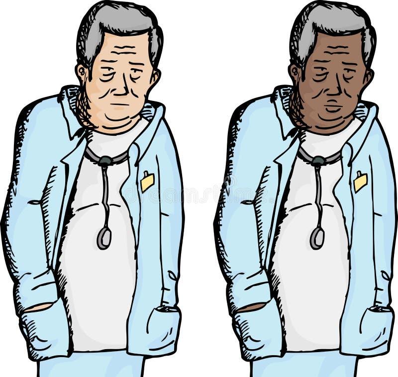Κουρασμένος γιατρός διανυσματική απεικόνιση