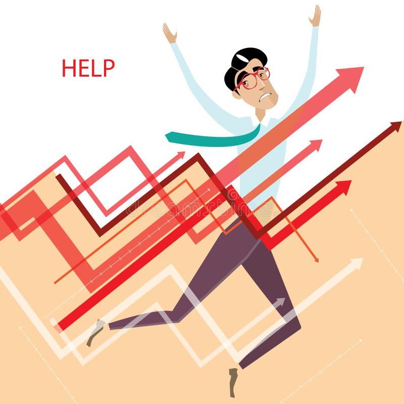 Κουρασμένος επιχειρηματίας με τις γραφικές παραστάσεις απεικόνιση αποθεμάτων
