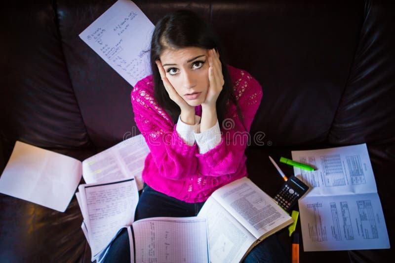 Κουρασμένος σπουδαστής που έχει πολύ που διαβάζει Ανησυχημένος τονισμένος σπουδαστής Ο σπουδαστής μελετά Μελέτη επάνω στοκ φωτογραφίες