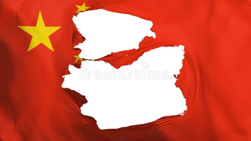 Κουρελιασμένη σημαία της Κίνας απεικόνιση αποθεμάτων