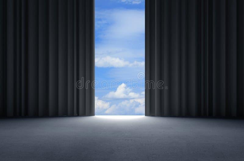 κουρτίνες ανοικτές στοκ φωτογραφία
