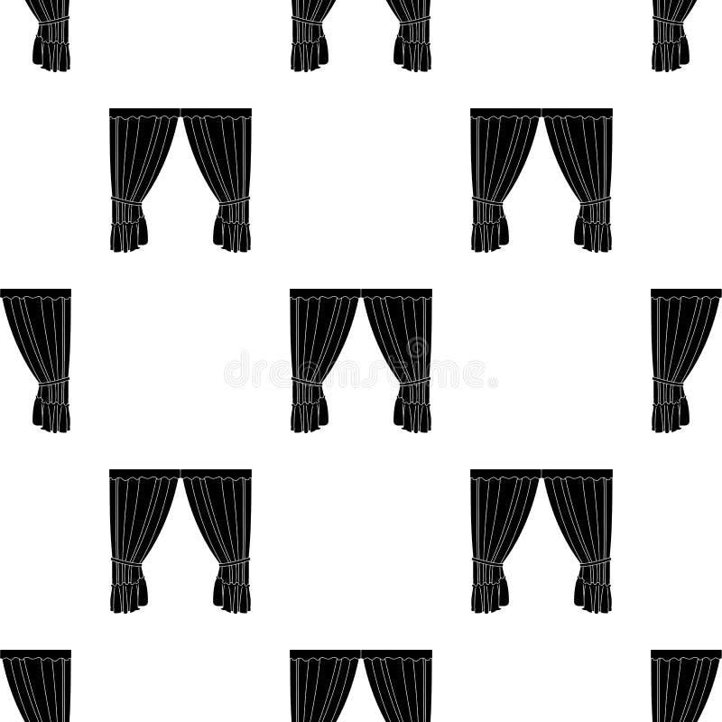 Κουρτίνες με την υφασματεμπορία στο γείσο Ενιαίο εικονίδιο κουρτινών στο μαύρο Ιστό απεικόνισης αποθεμάτων συμβόλων ύφους διανυσμ απεικόνιση αποθεμάτων