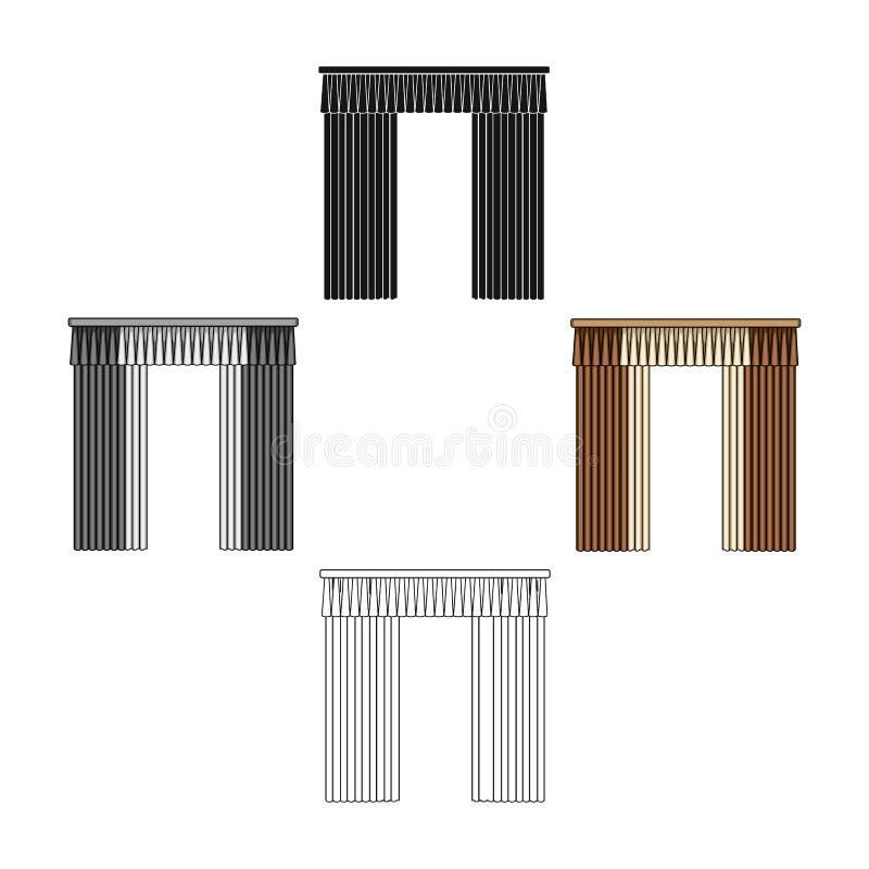Κουρτίνες με την υφασματεμπορία στο γείσο Ενιαίο εικονίδιο κουρτινών στα κινούμενα σχέδια, μαύρος Ιστός απεικόνισης αποθεμάτων συ απεικόνιση αποθεμάτων