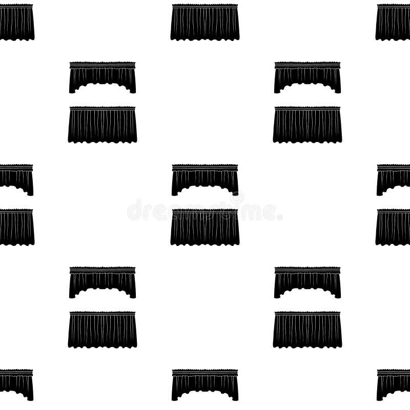 Κουρτίνες με την υφασματεμπορία στο γείσο Ενιαίο εικονίδιο κουρτινών στο μαύρο Ιστό απεικόνισης αποθεμάτων συμβόλων ύφους διανυσμ διανυσματική απεικόνιση