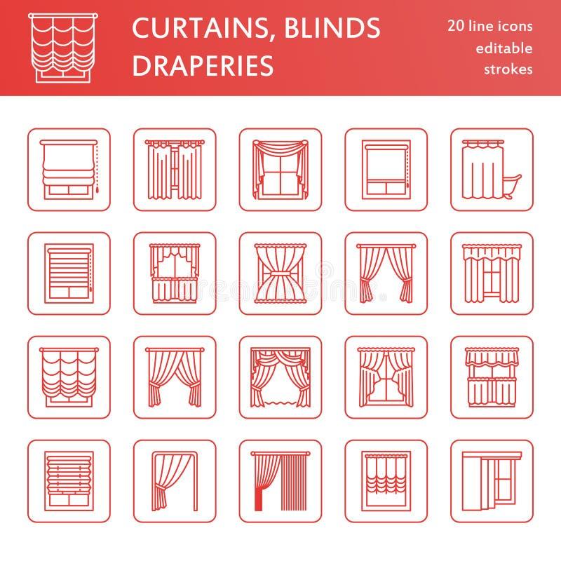 Κουρτίνες παραθύρων, εικονίδια γραμμών σκιών Διακόσμηση, lambrequin, swag, γαλλική κουρτίνα, τυφλοί διάφορων δωματίων σκουραίνοντ ελεύθερη απεικόνιση δικαιώματος