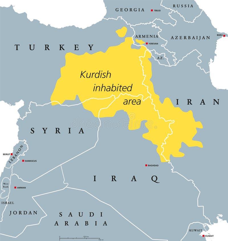 Κουρδικός-κατοικημένος πολιτικός χάρτης περιοχής ελεύθερη απεικόνιση δικαιώματος