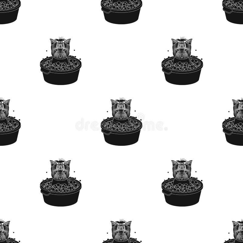 Κουτάβι κατοικίδιων ζώων λουσίματος σε ένα κύπελλο σκυλί, Pet, ενιαίο εικονίδιο προσοχής σκυλιών στο μαύρο Ιστό απεικόνισης αποθε ελεύθερη απεικόνιση δικαιώματος