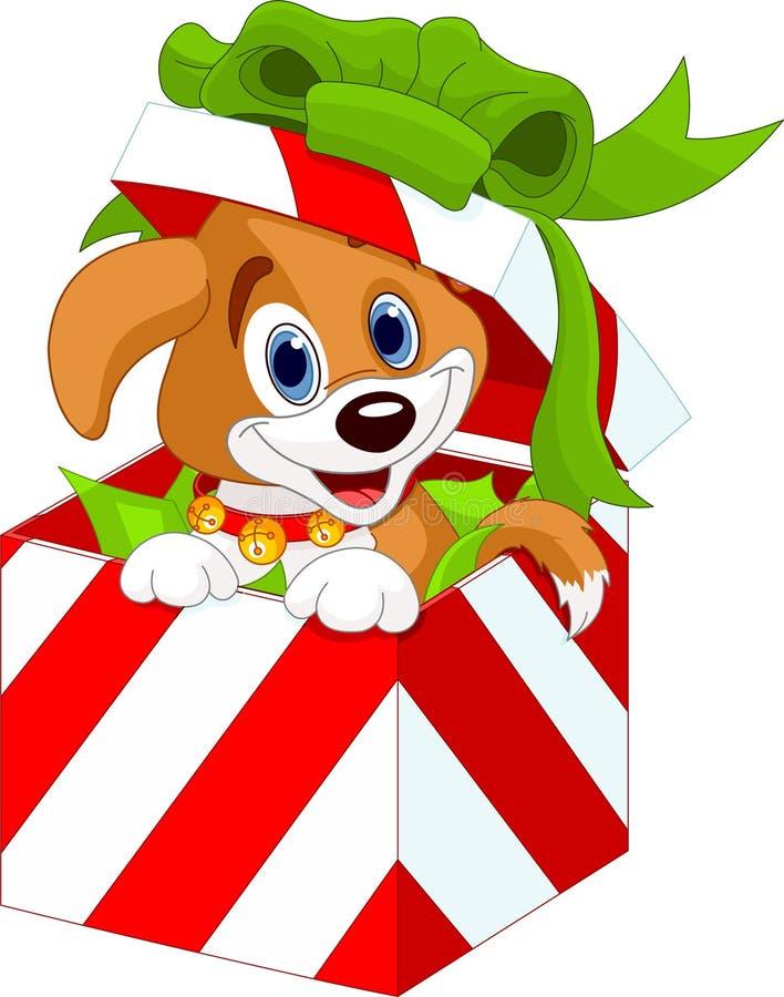 Κουτάβι σε ένα κιβώτιο δώρων Χριστουγέννων διανυσματική απεικόνιση