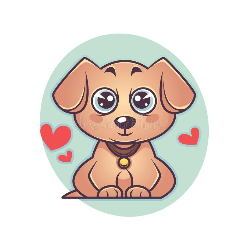 Κουτάβι του χαριτωμένου και Λαμπραντόρ kawaii, σύμβολο σκυλιών του νέου έτους διανυσματική απεικόνιση