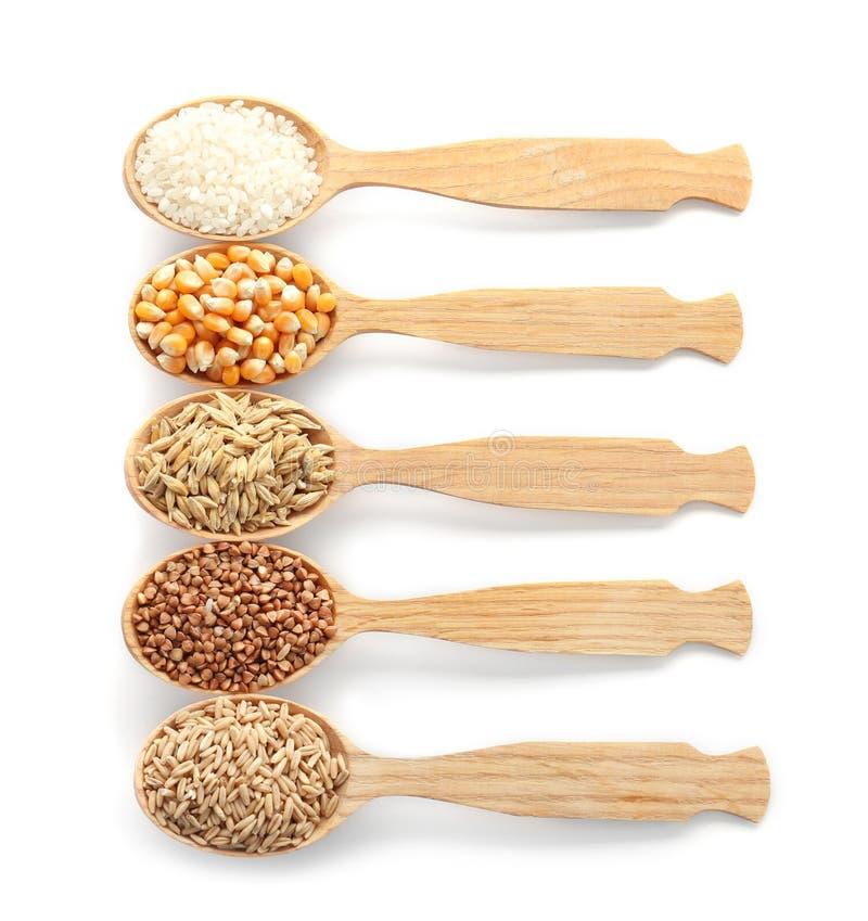 Κουτάλια με τους διαφορετικούς τύπους σιταριών και δημητριακών στοκ εικόνες