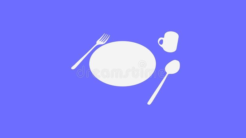 Κουτάλι και δίκρανο και πιάτο και φλυτζάνι στη σκοτεινή πορφύρα διανυσματική απεικόνιση
