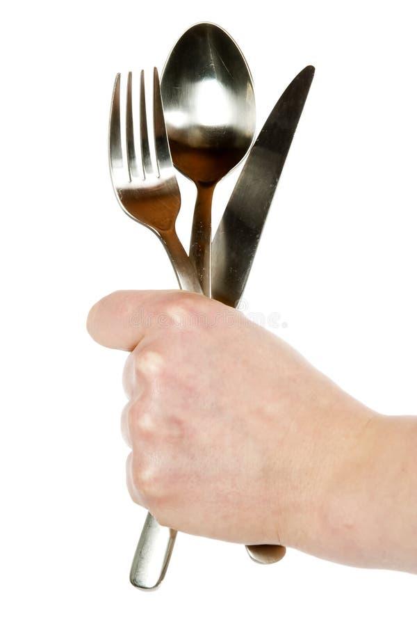 κουτάλι μαχαιριών δικράνων στοκ εικόνες