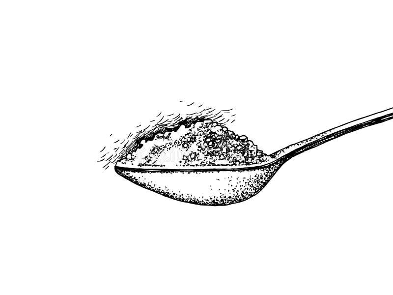 Κουτάλι με τη ζάχαρη ελεύθερη απεικόνιση δικαιώματος