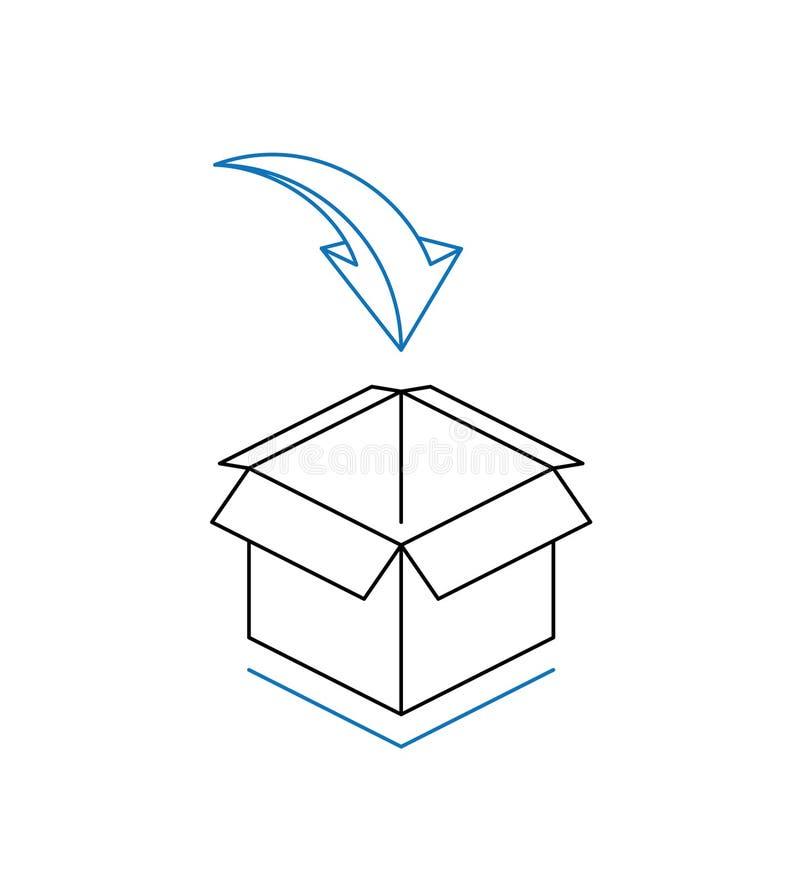 Κουτί από χαρτόνι με το βέλος που απομονώνεται στο άσπρο υπόβαθρο στοκ εικόνα με δικαίωμα ελεύθερης χρήσης