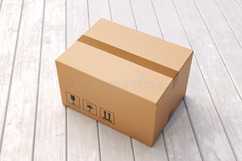 Κουτί από χαρτόνι στο πάτωμα μερών ελεύθερη απεικόνιση δικαιώματος