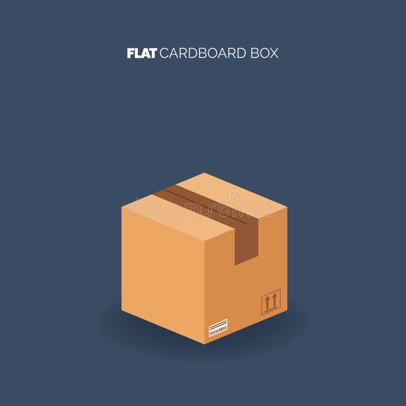 Κουτί από χαρτόνι χαρτοκιβωτίων Παράδοση και συσκευασία Ναυτιλία μεταφορών Επίπεδο ύφος ελεύθερη απεικόνιση δικαιώματος