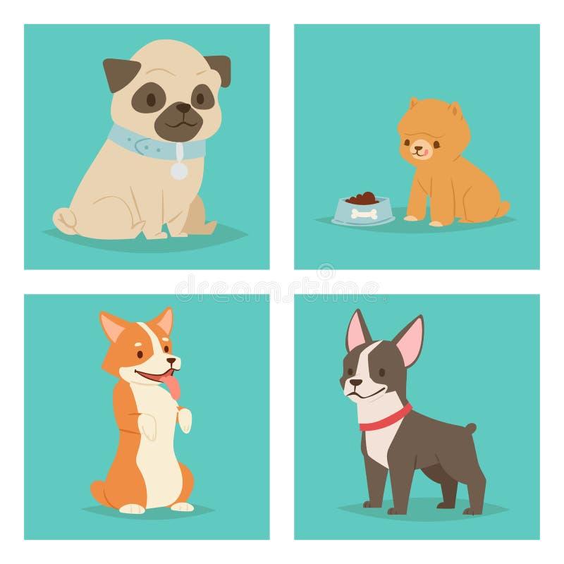 Κουταβιών χαριτωμένη παίζοντας σκυλιών απεικόνιση φυλής σκυλακιών θηλαστικών χαρακτήρων αστεία καθαρής φυλής κωμική ευτυχής διανυσματική απεικόνιση