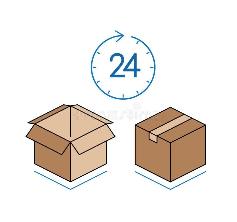 Κουτιά από χαρτόνι με το ρολόι που απομονώνεται στο άσπρο υπόβαθρο στοκ φωτογραφίες με δικαίωμα ελεύθερης χρήσης