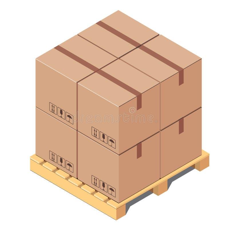 Κουτιά από χαρτόνι στην ξύλινη παλέτα που απομονώνεται στο άσπρο υπόβαθρο ελεύθερη απεικόνιση δικαιώματος