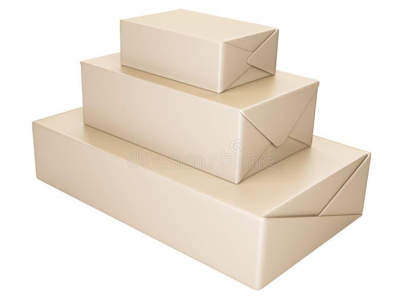 Κουτιά από χαρτόνι διανυσματική απεικόνιση