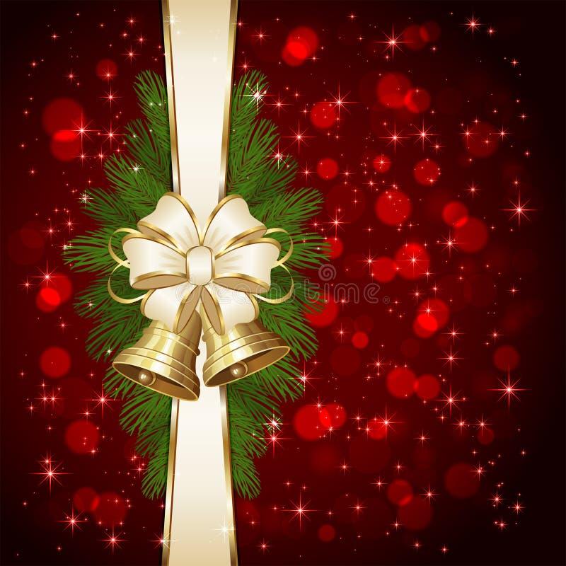 Κουδούνια Χριστουγέννων και μουτζουρωμένα φω'τα διανυσματική απεικόνιση