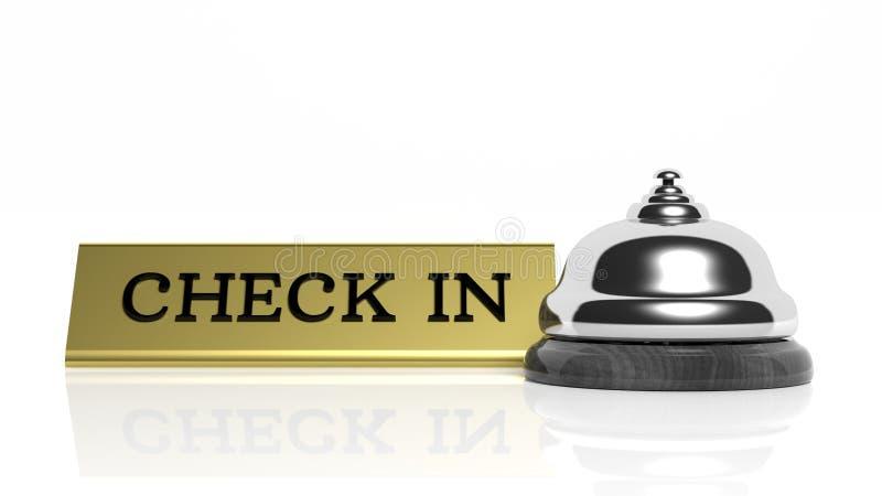 Κουδούνι και έλεγχος υποδοχής ξενοδοχείων μέσα διανυσματική απεικόνιση
