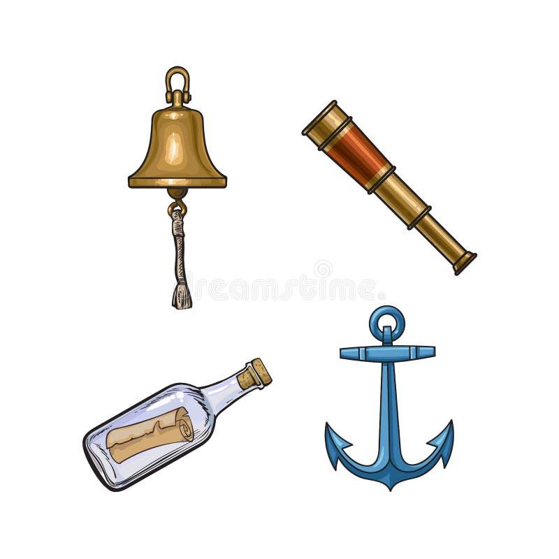 Κουδούνι σκαφών, άγκυρα, τηλεσκόπιο, μήνυμα στο μπουκάλι ελεύθερη απεικόνιση δικαιώματος
