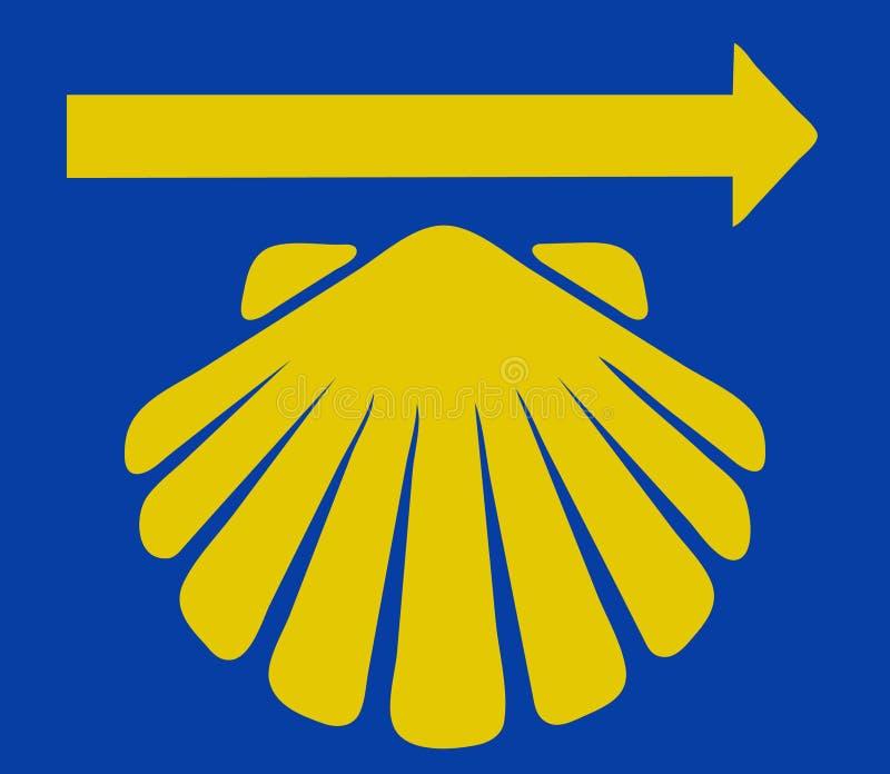 Κοχύλι Αγίου James με το κίτρινο βέλος ελεύθερη απεικόνιση δικαιώματος