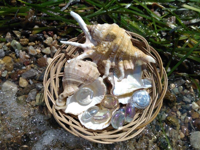 Κοχύλια και πέτρες γυαλιού σε ένα ψάθινο καλάθι στην ακτή στοκ φωτογραφίες με δικαίωμα ελεύθερης χρήσης