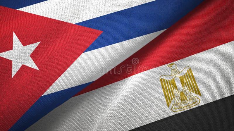 Κούβα και Αίγυπτος δύο υφαντικό ύφασμα σημαιών διανυσματική απεικόνιση