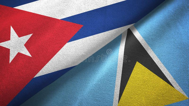 Κούβα και Αγία Λουκία δύο υφαντικό ύφασμα σημαιών, σύσταση υφάσματος διανυσματική απεικόνιση