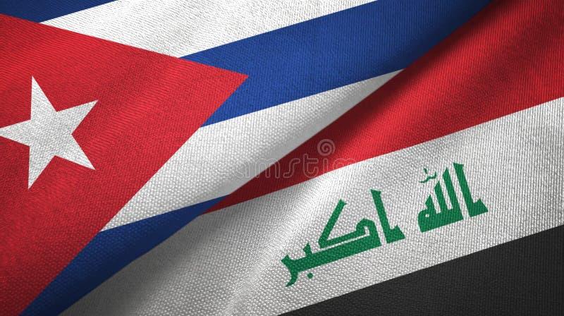 Κούβα και Ιράκ δύο υφαντικό ύφασμα σημαιών απεικόνιση αποθεμάτων