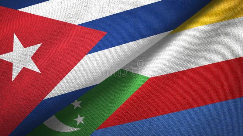 Κούβα και Κομόρες δύο υφαντικό ύφασμα σημαιών, σύσταση υφάσματος ελεύθερη απεικόνιση δικαιώματος
