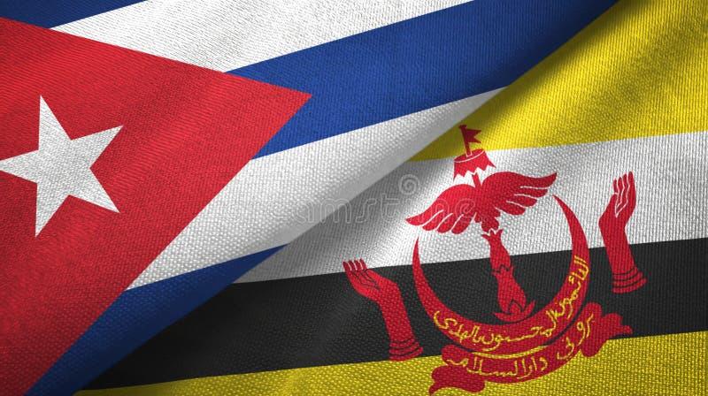 Κούβα και Μπρουνέι δύο υφαντικό ύφασμα σημαιών διανυσματική απεικόνιση