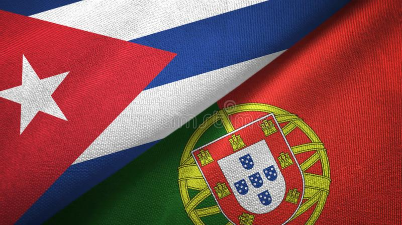 Κούβα και Πορτογαλία δύο υφαντικό ύφασμα σημαιών, σύσταση υφάσματος διανυσματική απεικόνιση