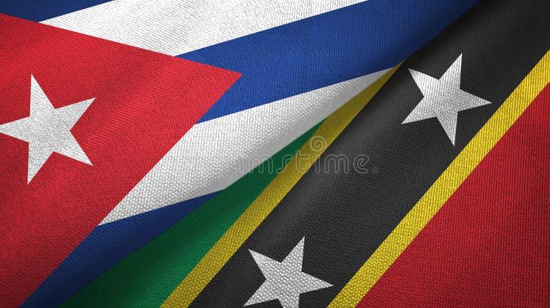 Κούβα και Σαιντ Κιτς και Νέβις δύο υφαντικό ύφασμα σημαιών, σύσταση υφάσματος διανυσματική απεικόνιση