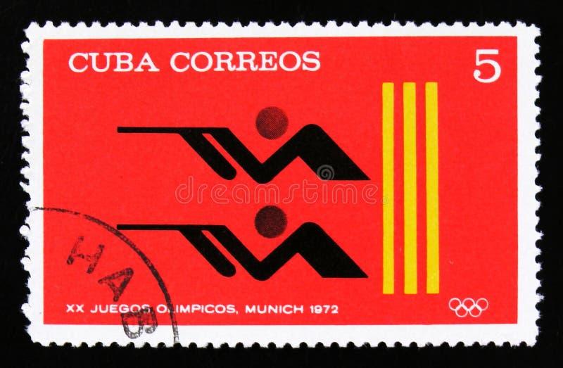 Κούβα με ένα κλείσιμο, από τη σειρά ΧΧ θερινοί Ολυμπιακοί Αγώνες, Μόναχο, 1972, circa 1973 στοκ φωτογραφία με δικαίωμα ελεύθερης χρήσης