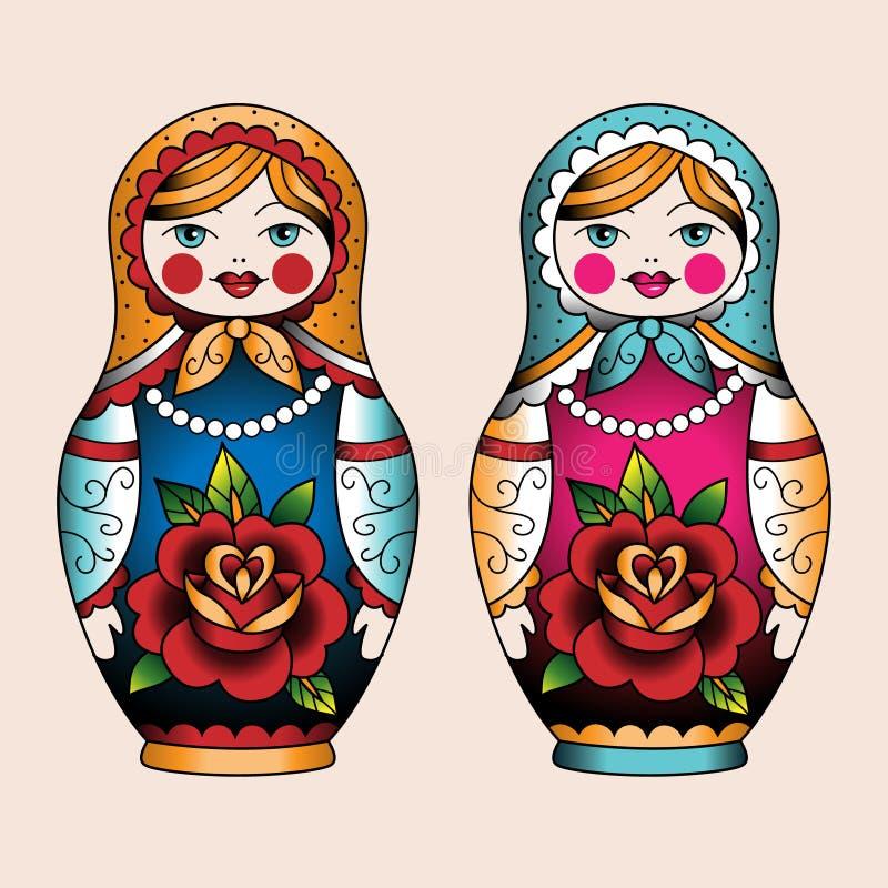 κούκλες που τοποθετο διανυσματική απεικόνιση