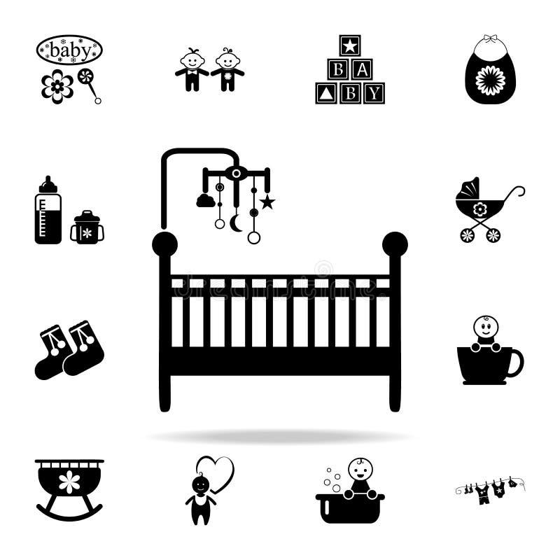κούνια με το εικονίδιο παιχνιδιών Καθολικό εικονιδίων μωρών που τίθεται για τον Ιστό και κινητό απεικόνιση αποθεμάτων