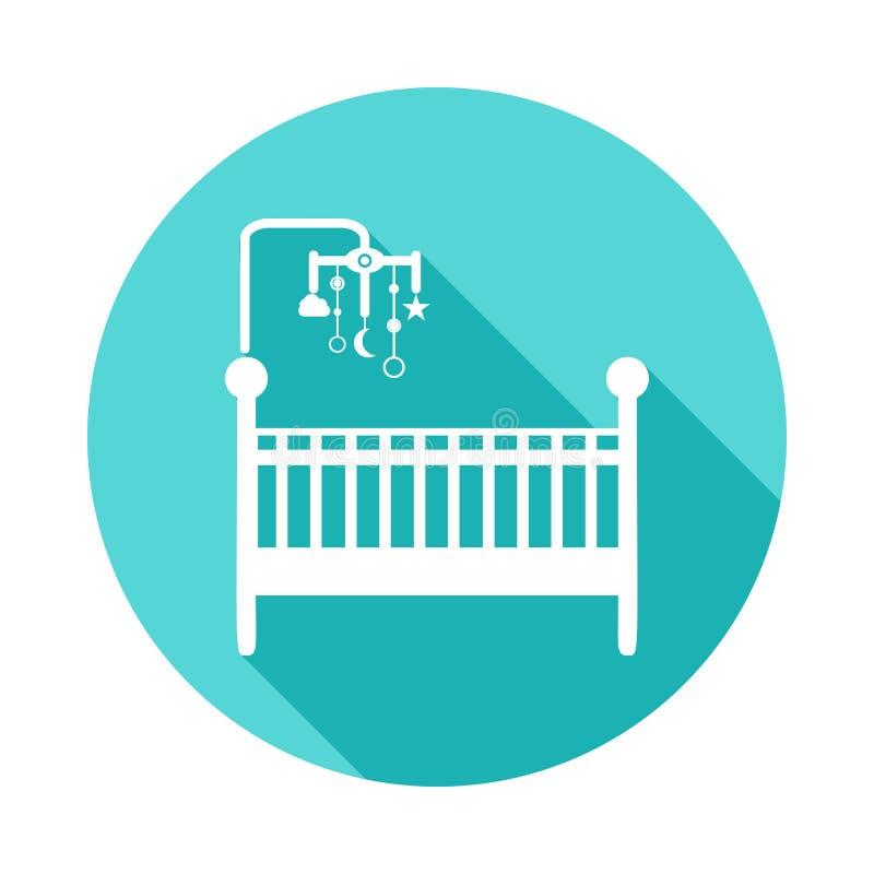κούνια με το εικονίδιο παιχνιδιών στην επίπεδη μακριά σκιά Ένα από το εικονίδιο συλλογής μωρών μπορεί να χρησιμοποιηθεί για UI/UX απεικόνιση αποθεμάτων