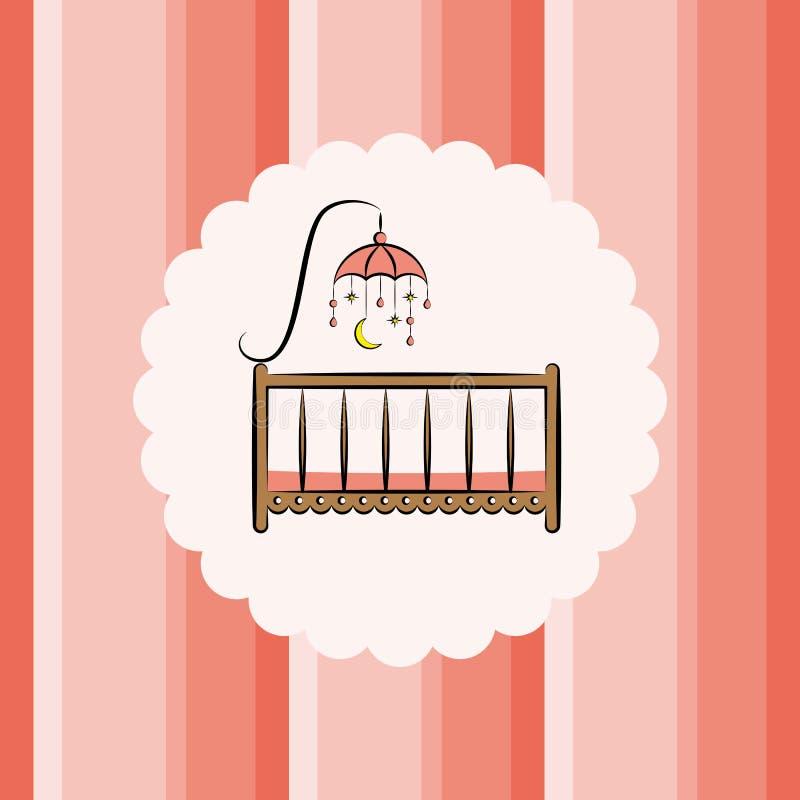 Κούνια μωρών με το παιχνίδι ανασκόπηση ριγωτή απεικόνιση αποθεμάτων