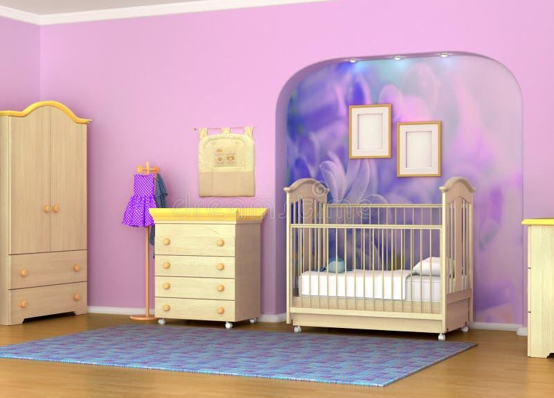 Κούνια μωρών στο δωμάτιο ελεύθερη απεικόνιση δικαιώματος
