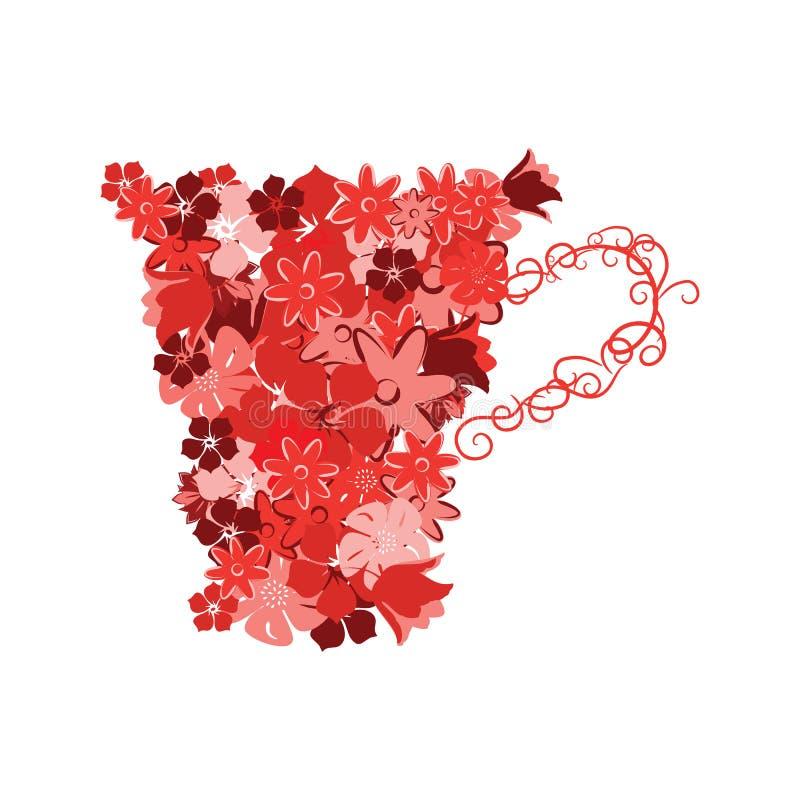 Κούπα από τα κόκκινα λουλούδια απεικόνιση αποθεμάτων