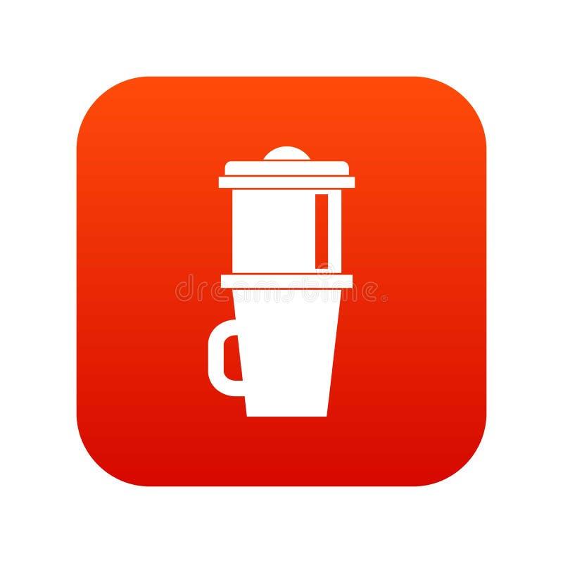 Κούπα για το ψηφιακό κόκκινο εικονιδίων καφέ απεικόνιση αποθεμάτων